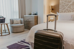 suitcases in light hotel room - Image