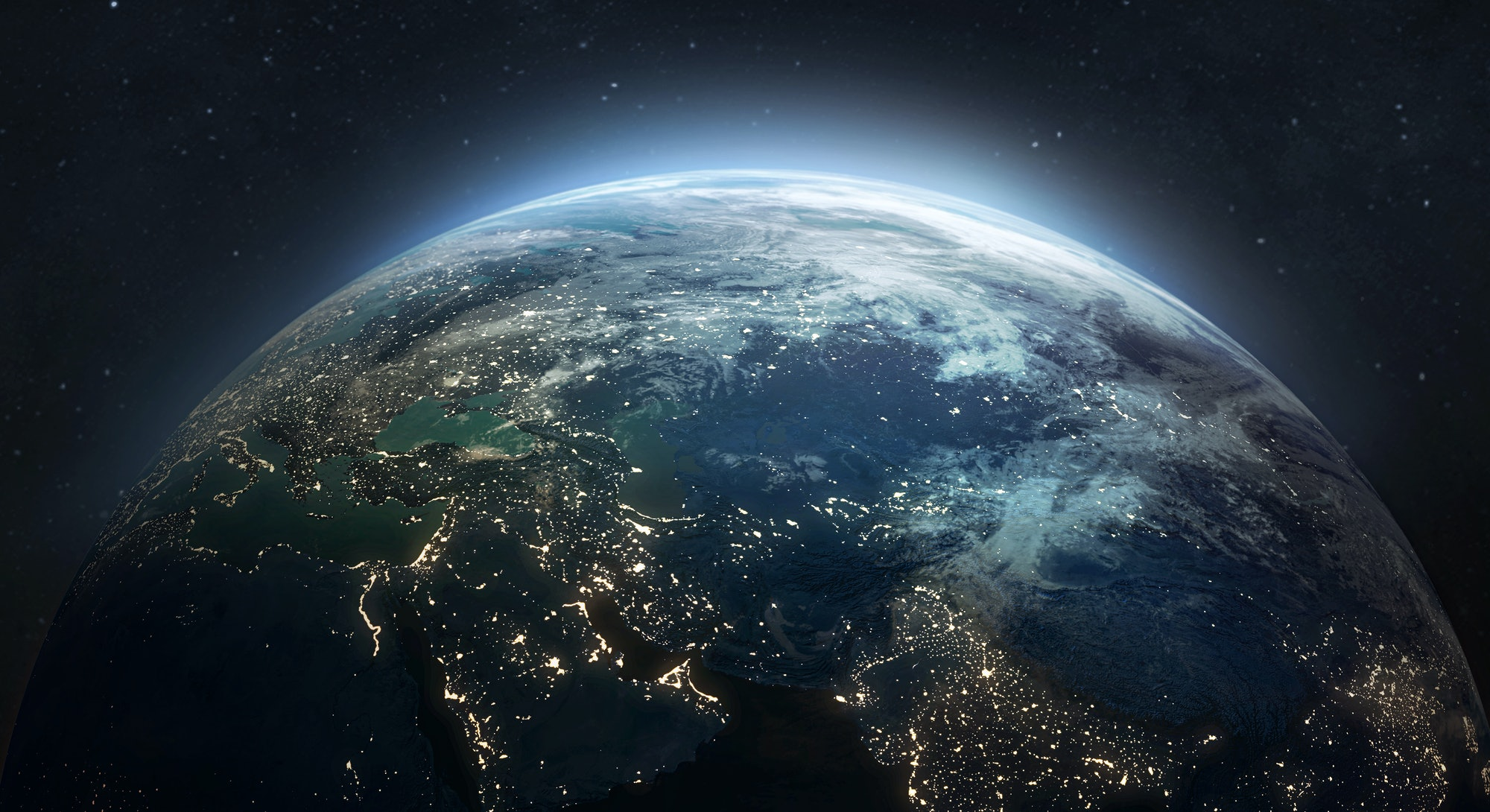 Earth at he night. Abstract wallpaper. City lights on planet. Civilization. Elements of this image f...