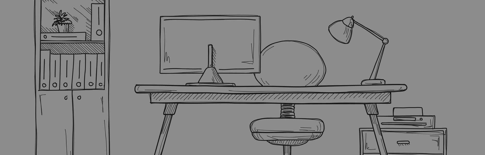 Sketch the room. Office chair, desk, various objects on the table. Sketch workspace. Vector illustration