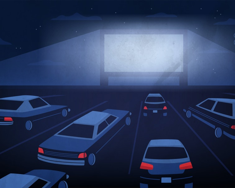 Open air, outdoor or drive-in cinema theater at night. Large movie screen glowing in darkness surrounded by cars against evening sky with stars and clouds on background. Cartoon illustration.