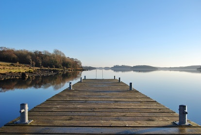 View from a jetty over Lough Erne on a calm day