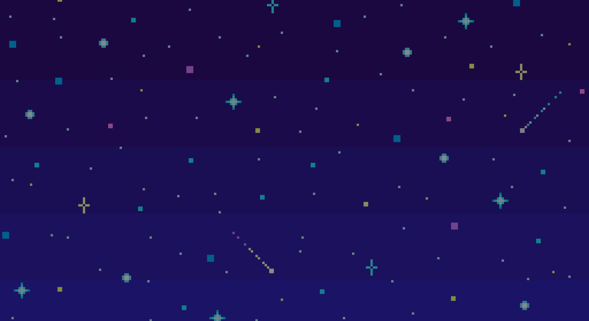 Pixel art night starry sky. Seamless vector background