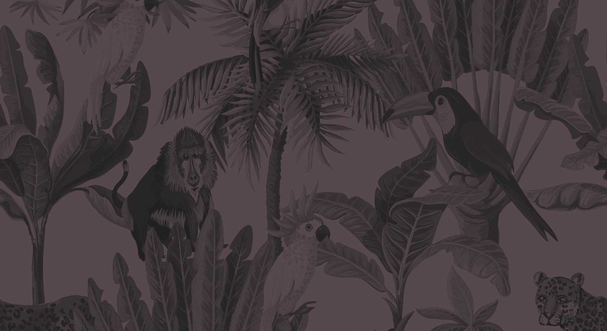 Seamless pattern with exotic trees and animals.