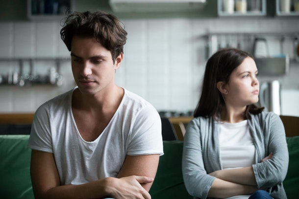Upset millennial guy feels frustrated after fight with girlfriend, sad thoughtful husband troubled with disagreement in bad marriage, relationship problems, unhappy couple in quarrel avoiding talk