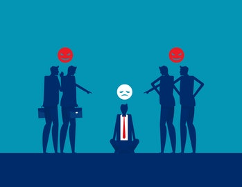 Bullying and harassment. Colleagues and Workplace. Silhouette flat vector illustration