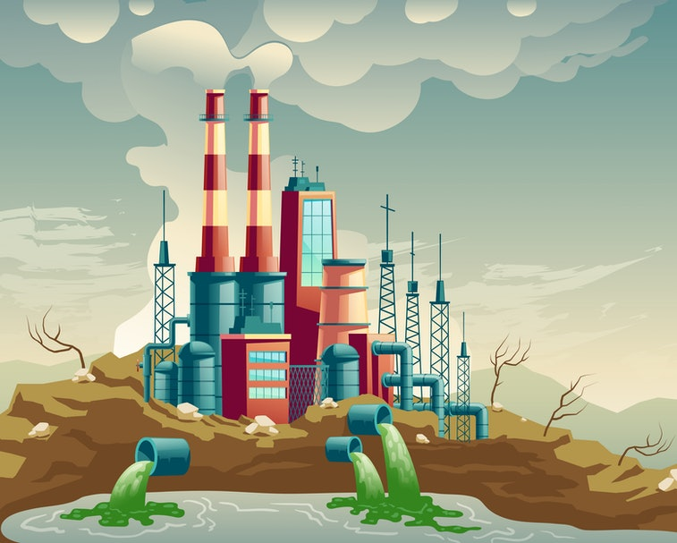 Air, water and soil pollution by industrial production cartoon vector concept. Working plant, factor...