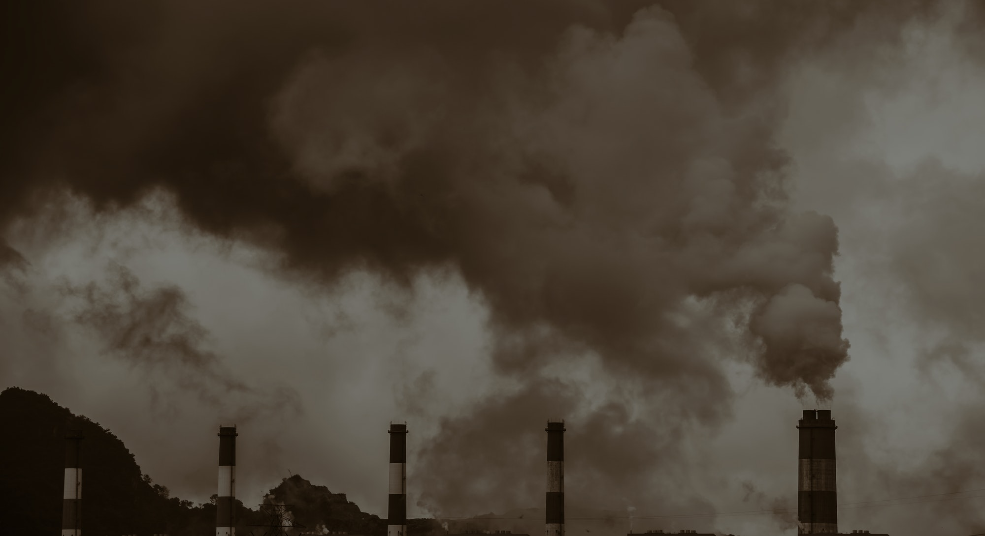 Air pollution crisis of danger PM 2.5  carbon dioxide dust smoke from coal power plant