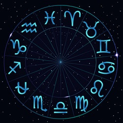 Zodiac circle with thirteenth astrological sign Ophiuchus.