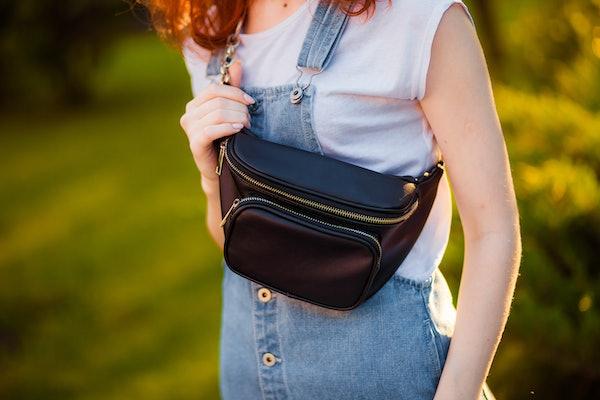 black waist bag close-up