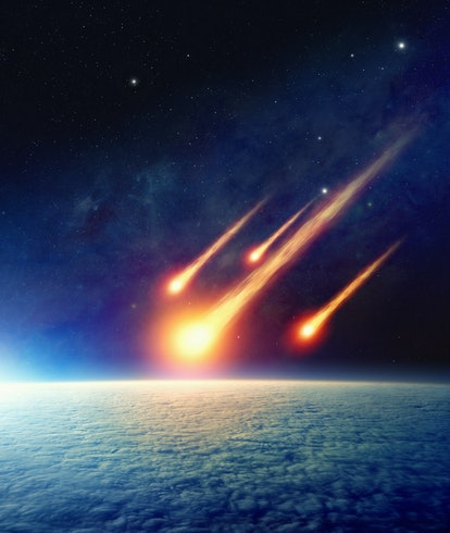 Apocalyptic background -  asteroid impact, end of world, judgment day. Group of burning exploding as...