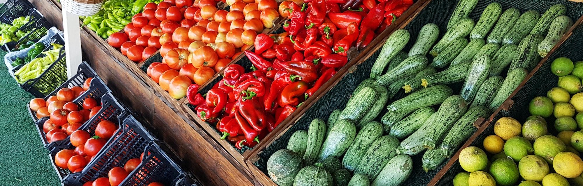 grocery market fruits vegetabes greece for background