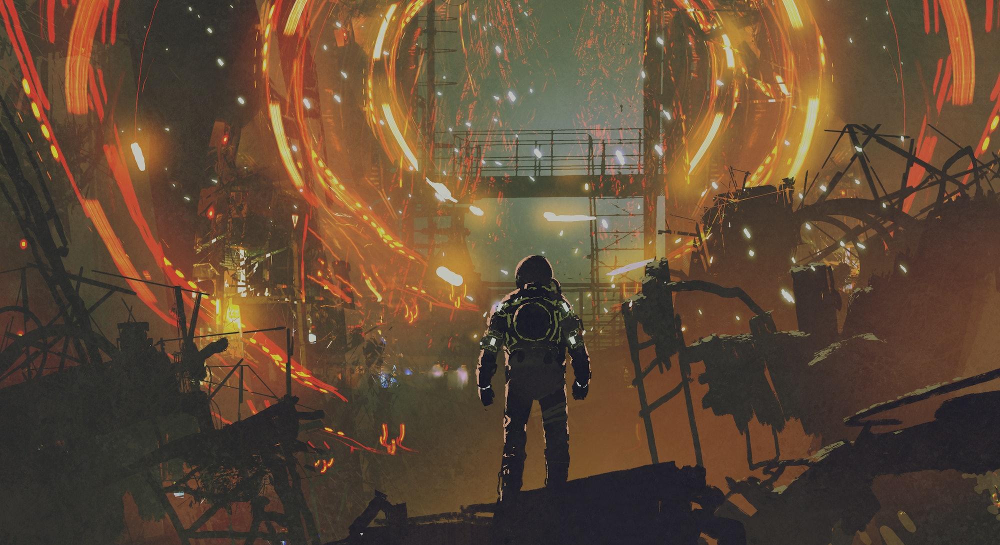 sci-fi scene of the astronaut looking at the futuristic portal, digital art style, illustration pain...