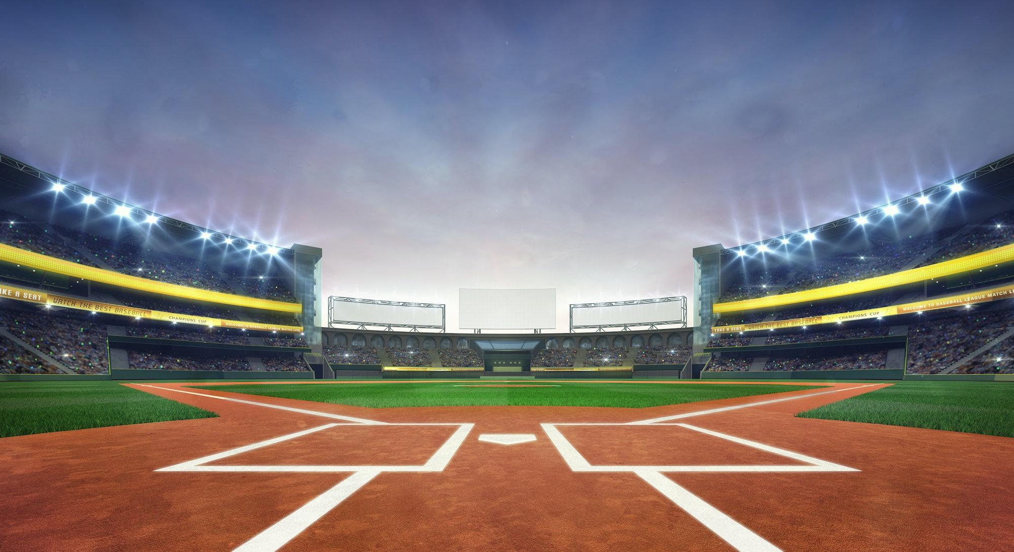 grand baseball stadium field diamond daylight view, modern public sport building 3D render background