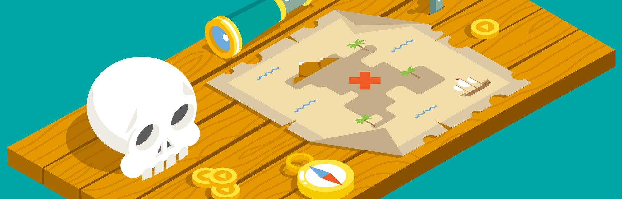 Isometric Pirate Treasure Adventure Game RPG Map Action Knife dagger Spyglass Skull Compass Icon Wood Table Background Concept Flat Design  Illustration