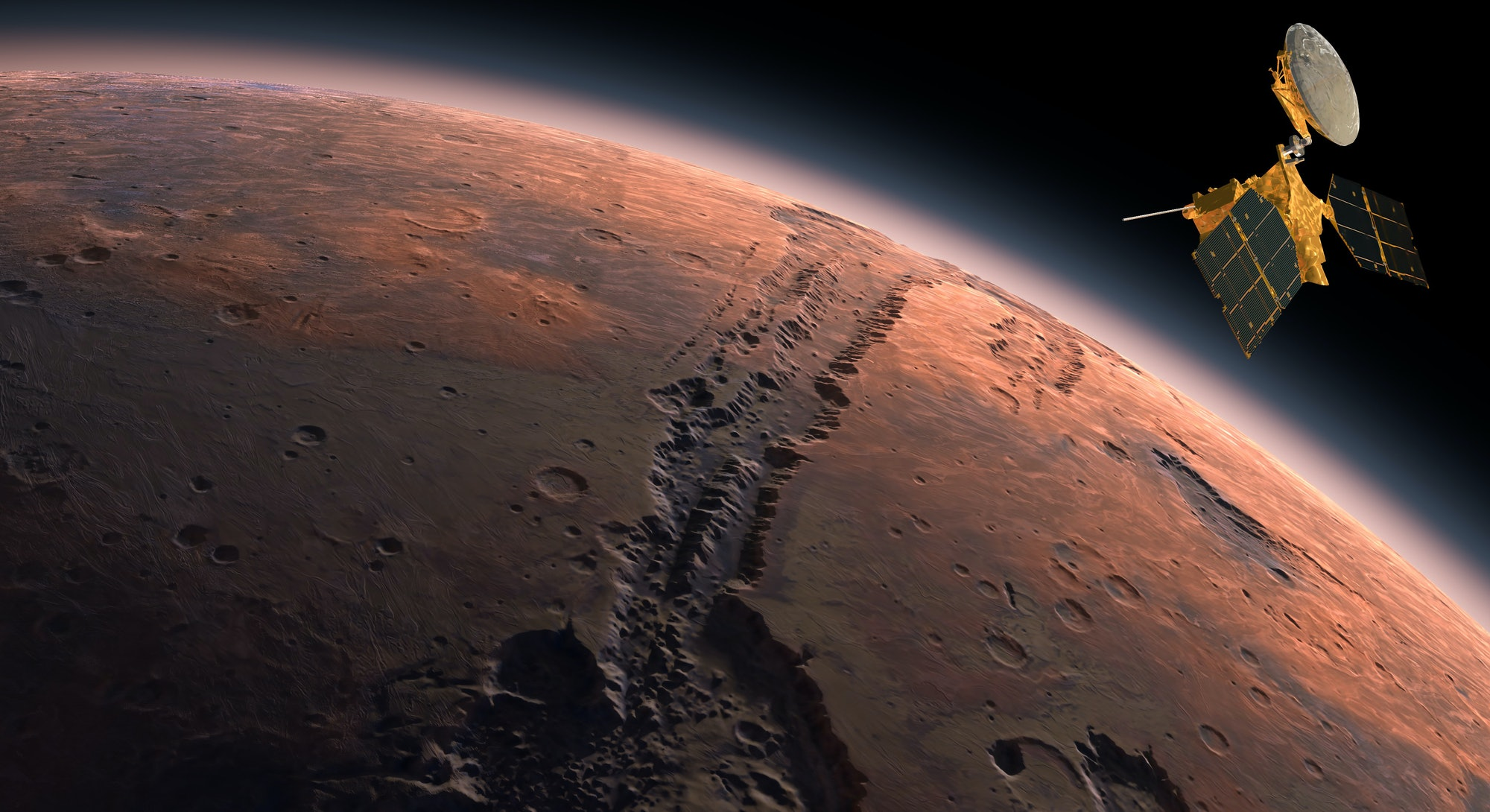 Mars Reconnaissance Orbiter, MRO orbiting Mars. Mars Planet Rotating in the outer space.Traveling to the red planet Mars in space. Elements of this video furnished by NASA. 3d rendring.