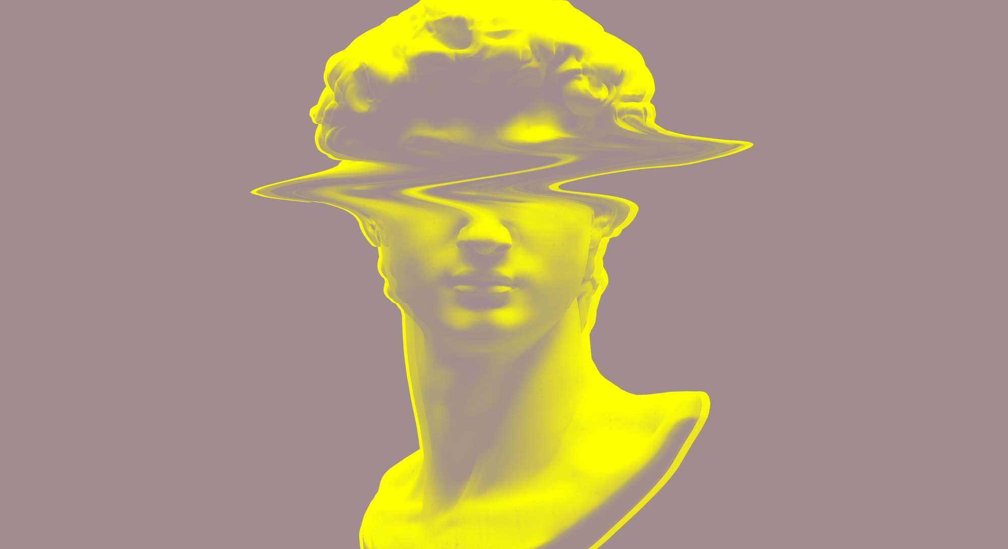 Digital RGB offset glitch illustration of Michelangelo's David head bust sculpture from 3D rendering in the style of modern graphics isolated on black background.