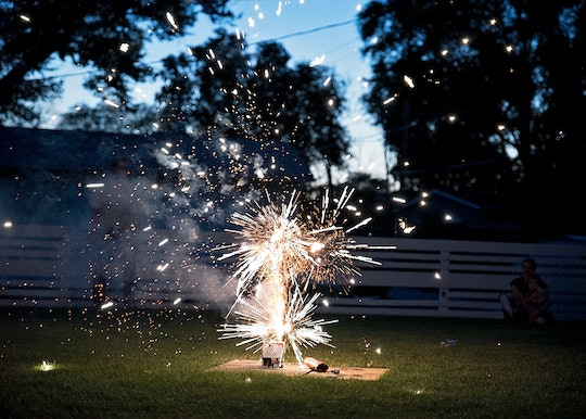 Fourth of July Fireworks at a backyard picnic on Independence Day!