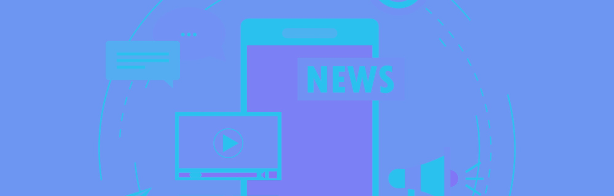 """In front of a blue background, a smartphone can be seen plastered with """"News"""" alongside a megaphone, speech bubbles, YouTube while a circle is sketched around it."""