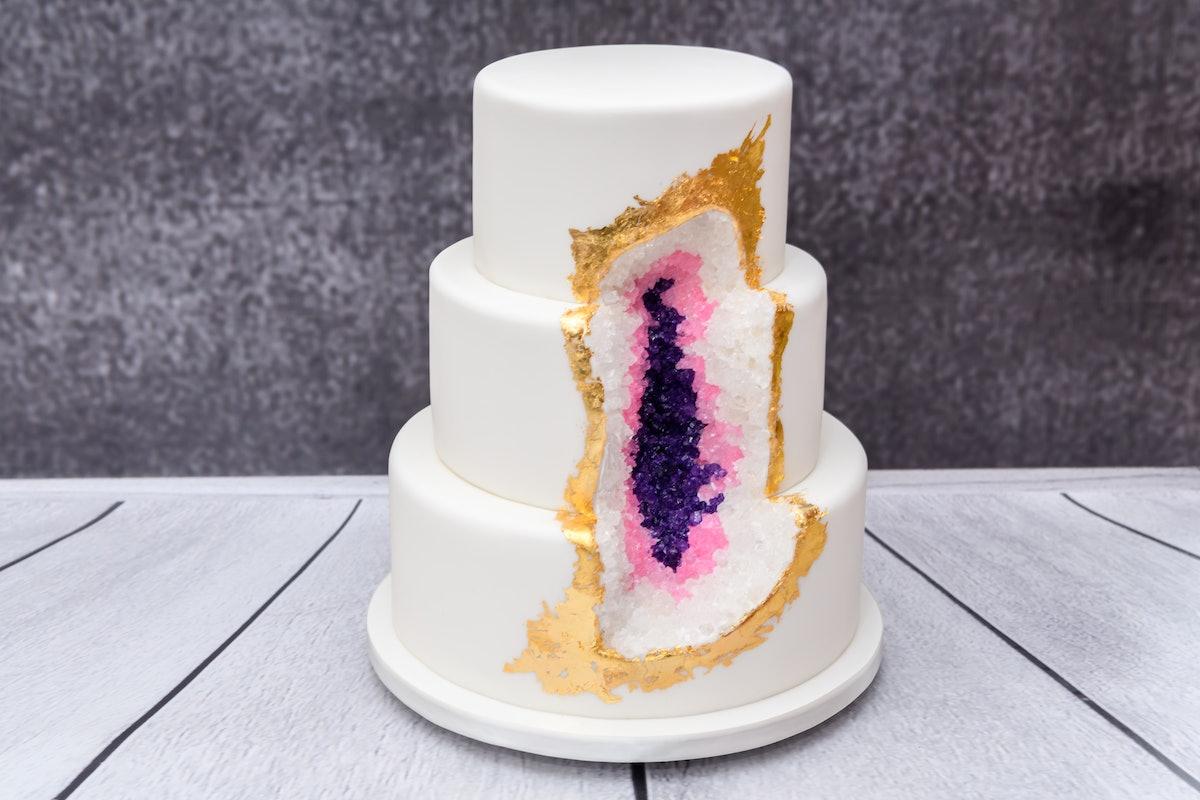 Homemade geode Wedding cake