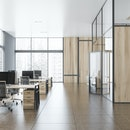 Interior of stylish open space office with gray and wooden walls, tiled floor, panoramic windows with cityscape and rows of gray and wooden computer desks. Hall with open door. 3d rendering