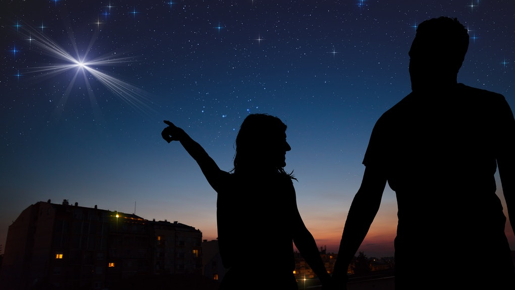 Couple under the Moon and Milky way stars. My astronomy work.