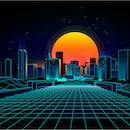 Retro background  landscape 1980s style.  Retro 80s Sci-Fi background city Landscape.Futuristic background retro wave.