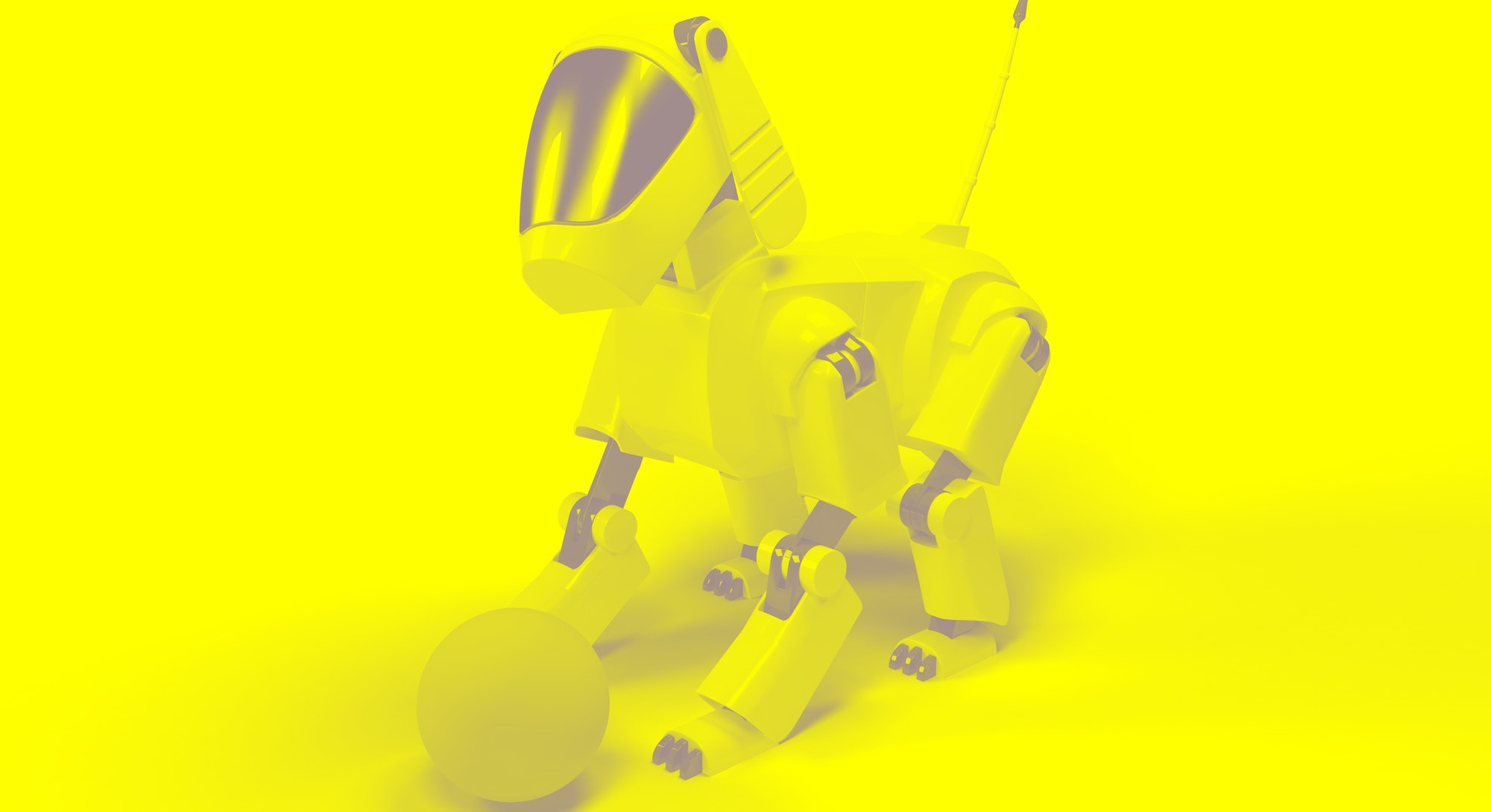 Robot dog from the white plastic play with pink ball on a white background