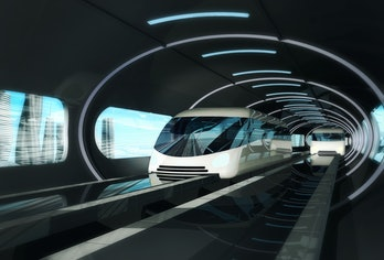 Concept of magnetic levitation train moving  in a vacuum tunnel across the city. Modern city transport. 3d rendering illustration