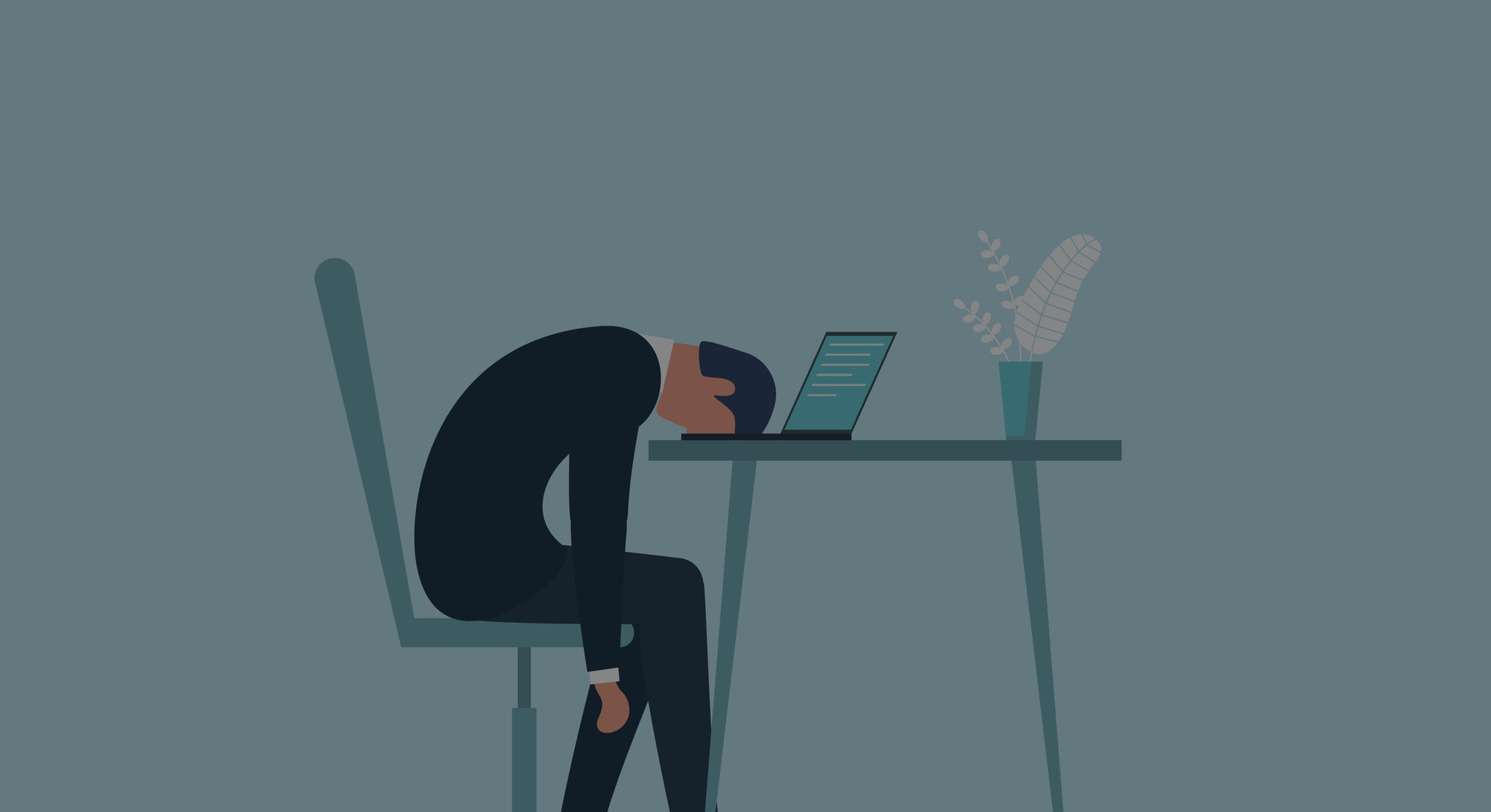 A man in an office suit can be seen having burnout at his desk. The dominant colors in this illustration are black, white, teal, blue, green, and off-white. He looks tired and has his head resting on its open laptop.