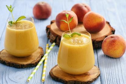 Healthy beverage - fresh blended peach smoothie.