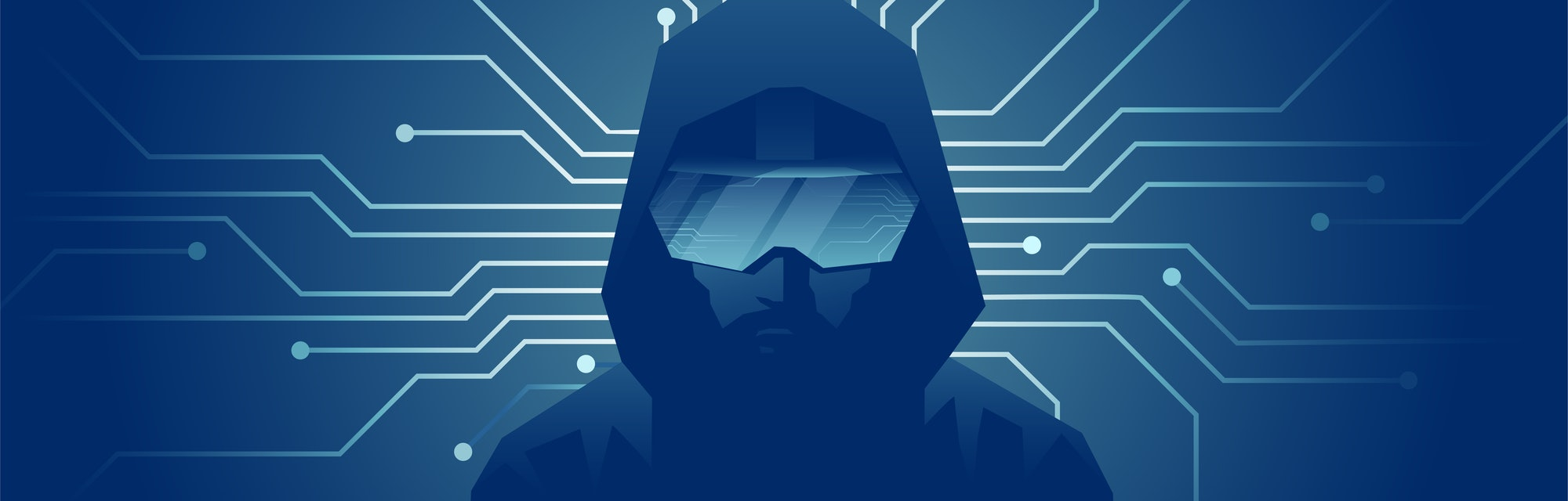 Virtual reality modern technology concept. Vector of a man in VR headset glasses on dark background with lines of internet network connections.