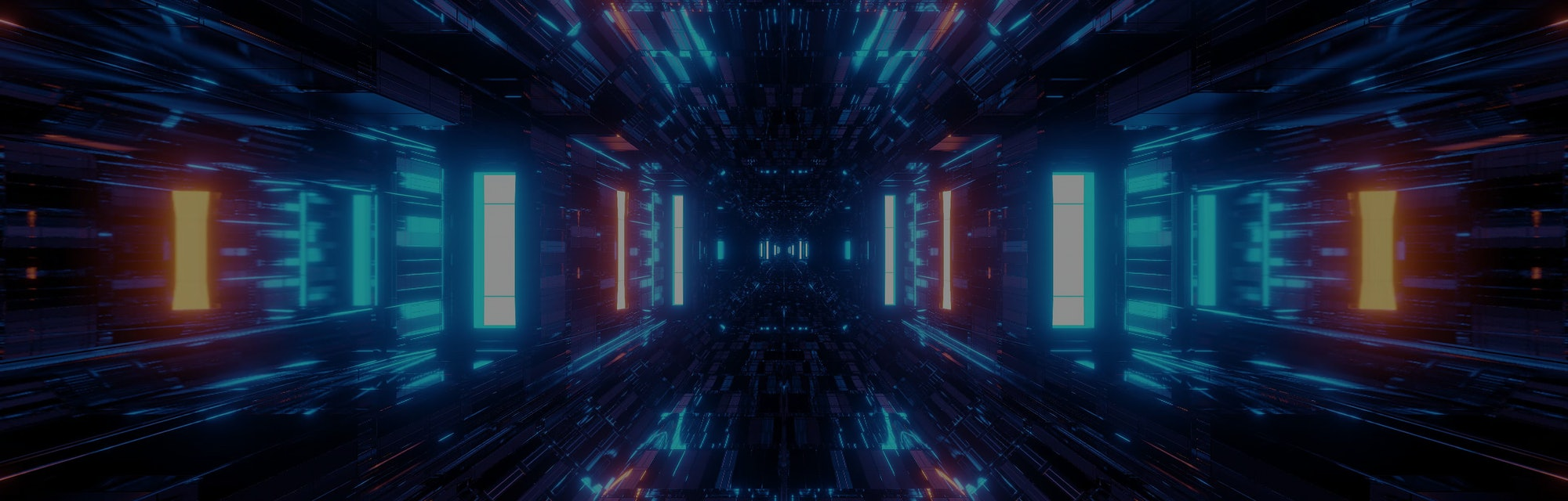 beautiful futuristic scifi space ship tunnel background 3d illustration 3d rendering loop endless lo...