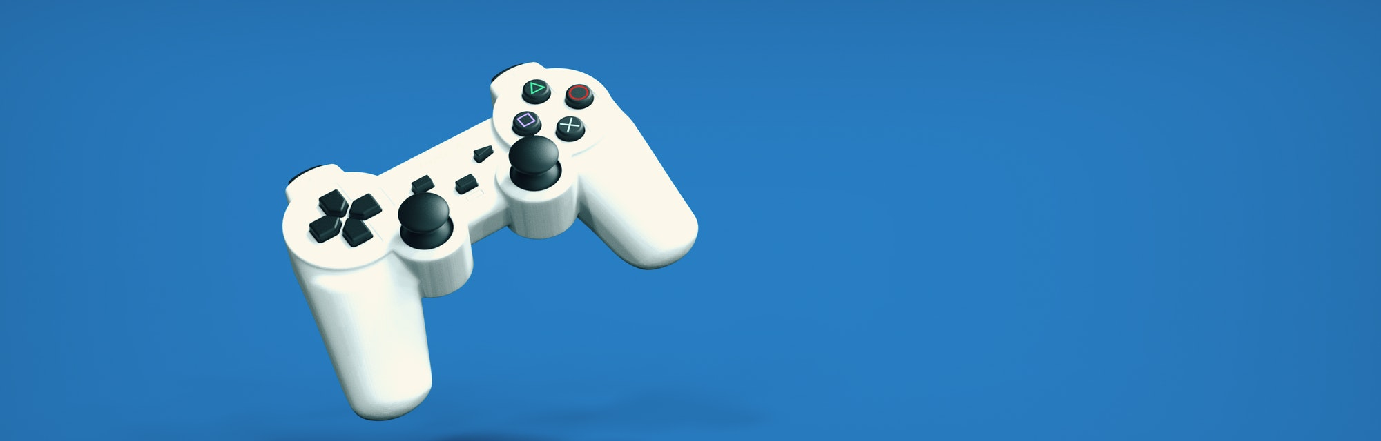 Ultrawide High Resolution Background with a controller. Can use for header, banner designs or print. Isolated Controller easy to cut/paste elsewhere. 3D Illustration, 3D Rendering.