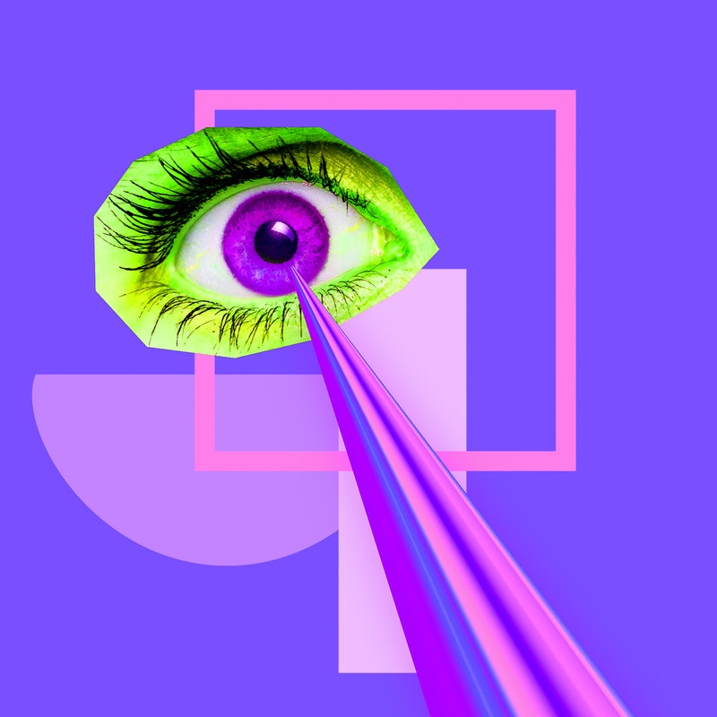 Colorful Eye with lazer. Minimal collage abstract art