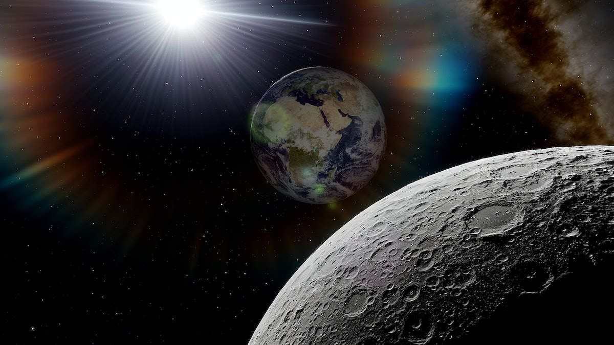 view from the moon to the Earth, moon and earth, big moon and planet earth, craters of the moon and ...