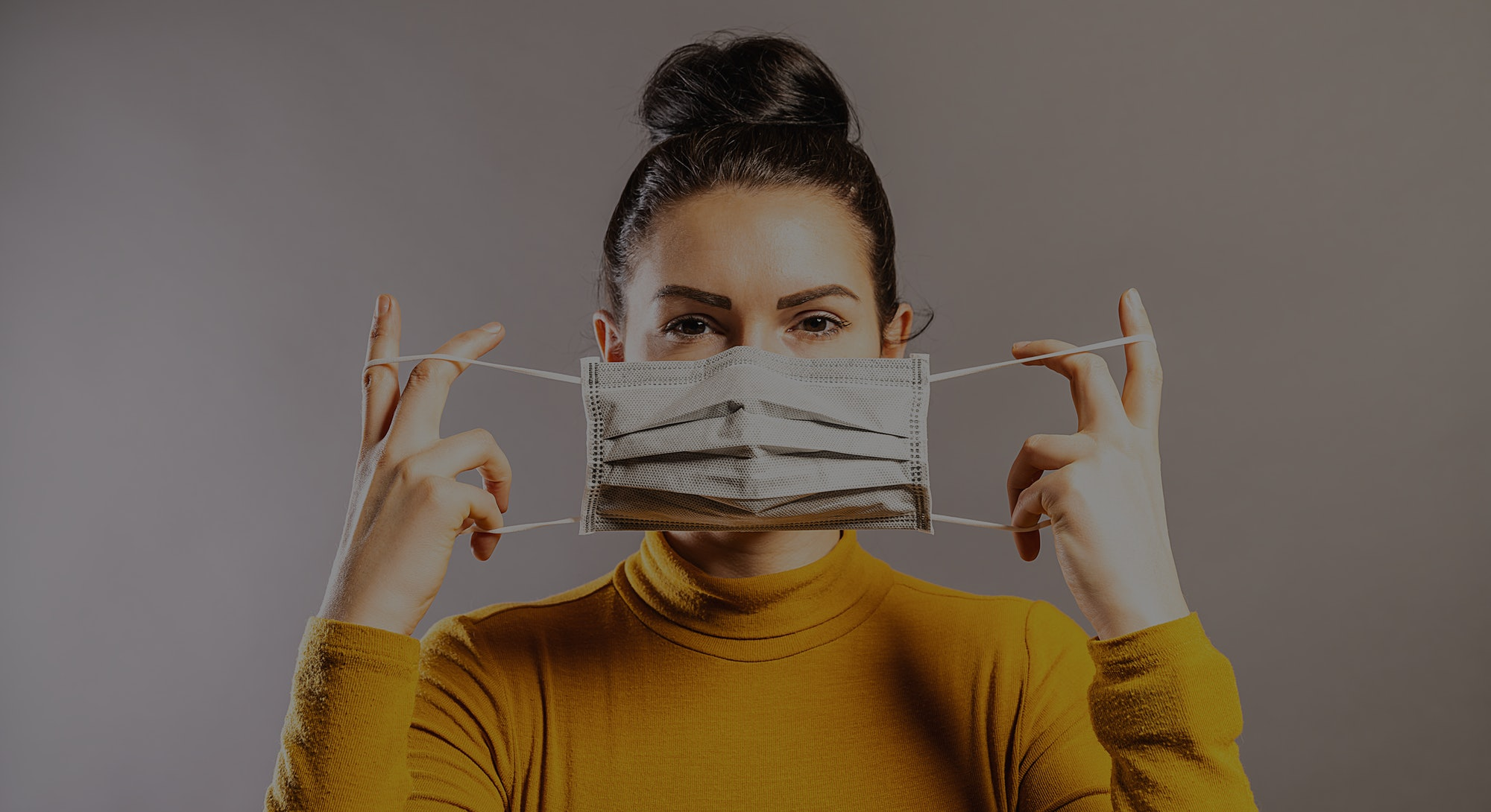 Woman wearing an anti virus protection mask to prevent others from corona COVID-19 and SARS cov 2 infection