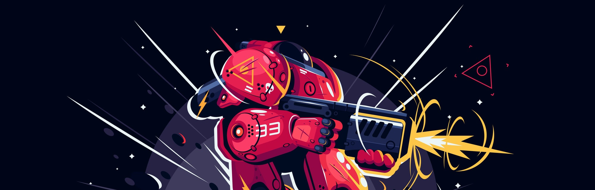 Infantryman with weapon in battlefield vector illustration. Foot-soldier shoots a gun. Military invader of future with hardware flat style concept. Isolated on dark background