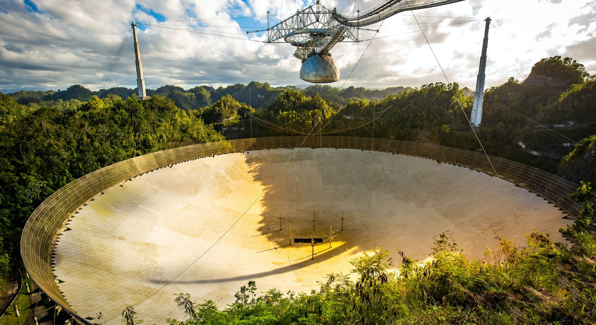 Large radio telescope dish in Arecibo national observatory