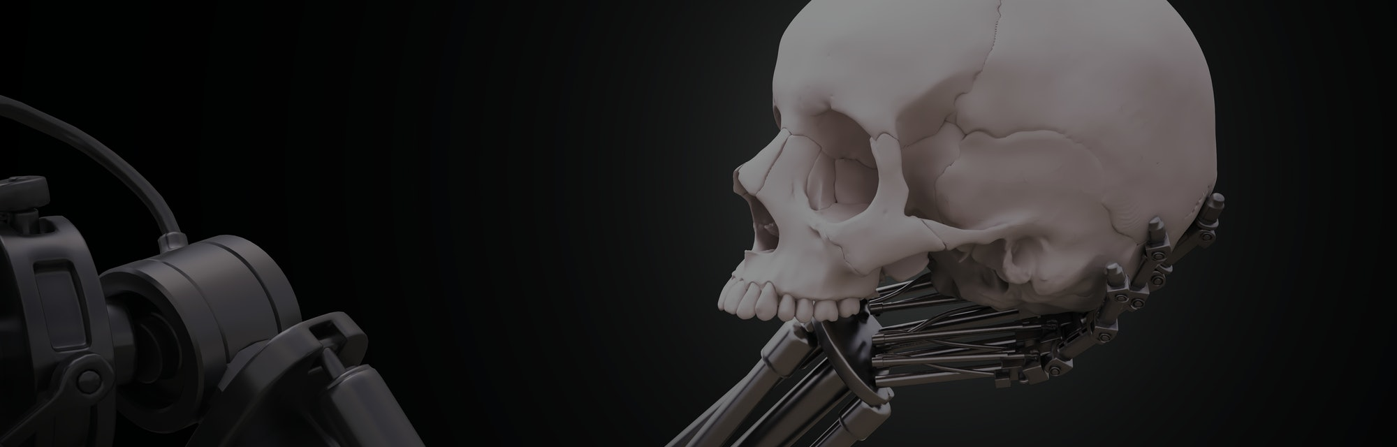 Robot arm holding a human skull