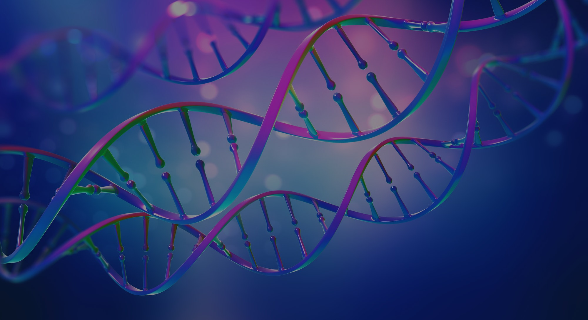 DNA. Study of gene structure of cell. Bright neon light. DNA molecule structure. 3D double helix illustration. Genetic engineering of the future