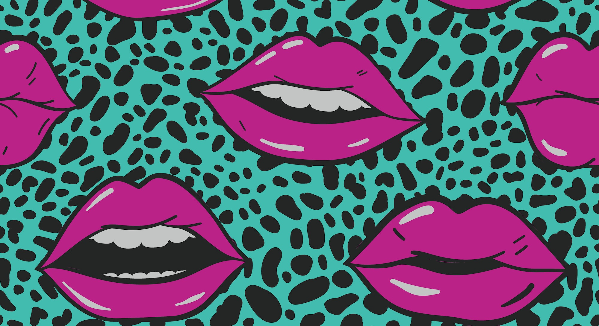 Beauty, makeup, cosmetic fashion seamless pattern. Vector red pink color doodle lips patches in pop art 80s-90s style. Woman's sexy emotions mouth.