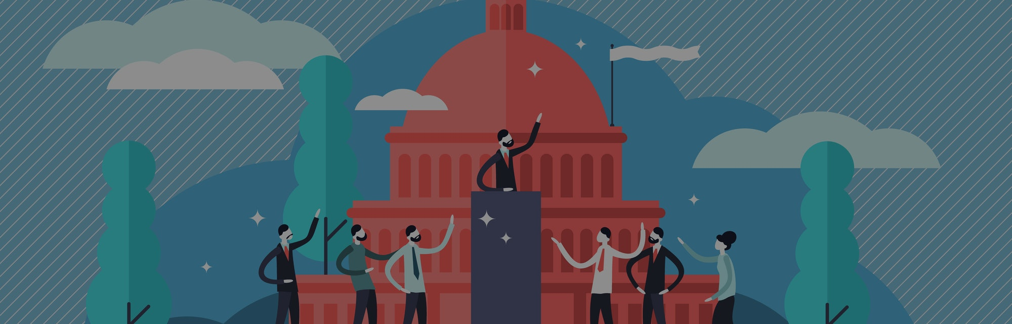 An illustration depicts a politician standing at the podium, presumably delivering a speech. At the bottom of the podium are people, both male and female, cheering the politician on. The image seems to be set in Capitol Hill. The dominant colors are red, blue, white.