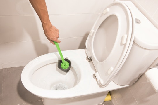 Hand cleaning toilet with green brush