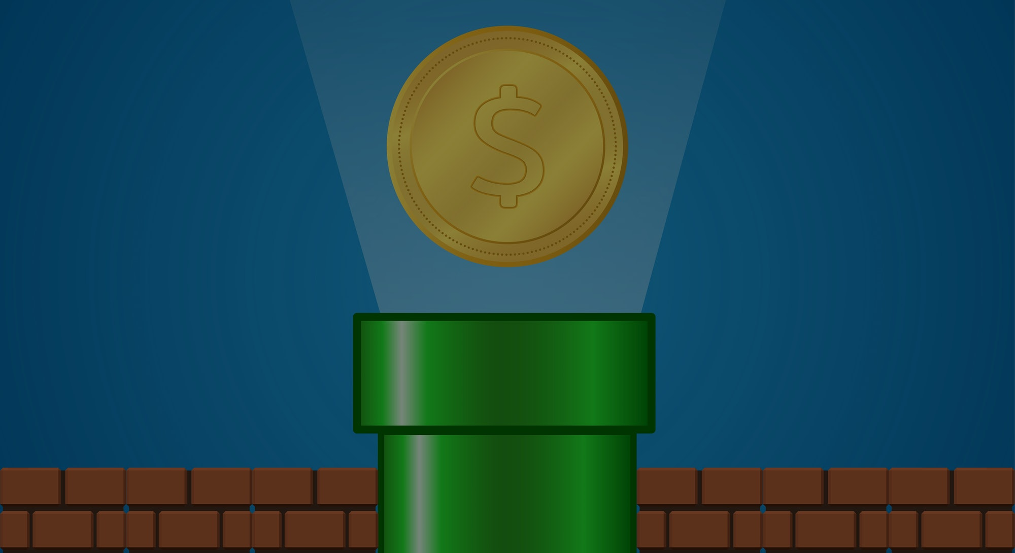 GreenPipe with Gold coin ,rays light  and brick on Blue Background