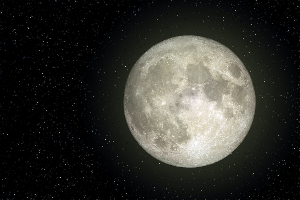 Full Moon view from space in night sky. (Elements of this image furnished by NASA.)