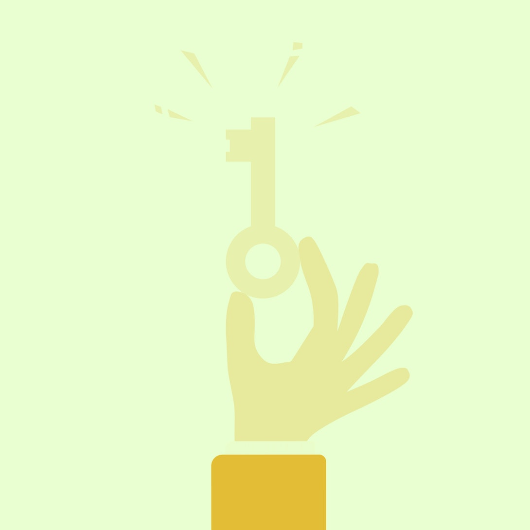 Hand holding golden key. Key takeaway design. Clipart image isolated on white background