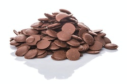 Chocolate button over white background
