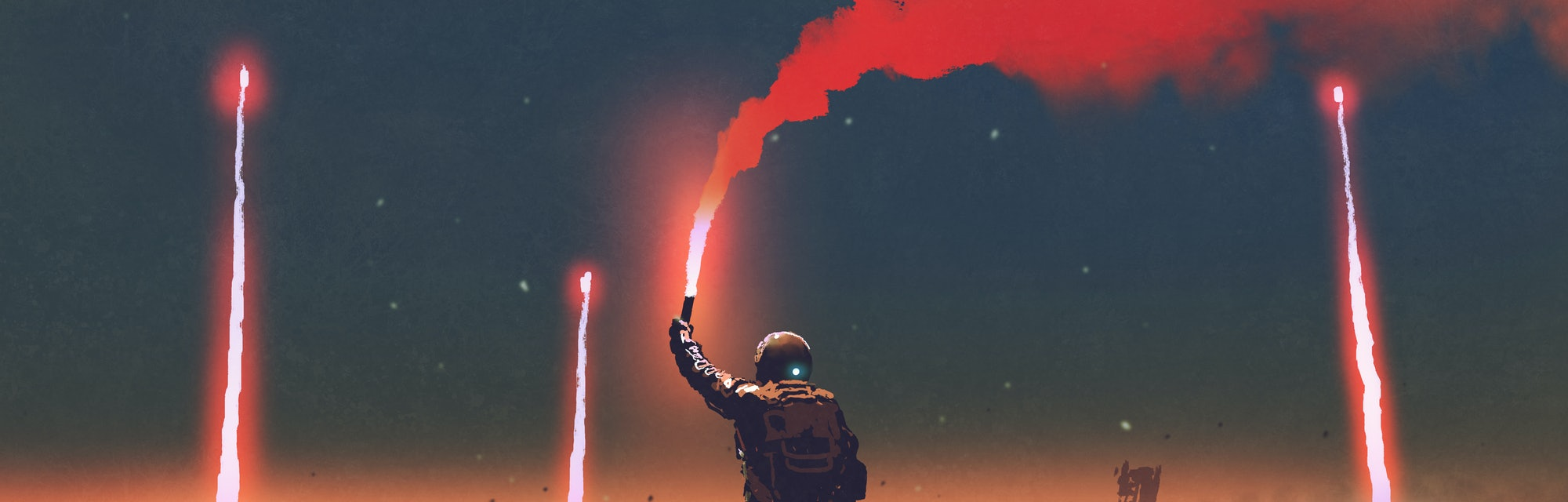 man holds a red smoke flare up in the air and standing against the apocalypse world, digital art sty...