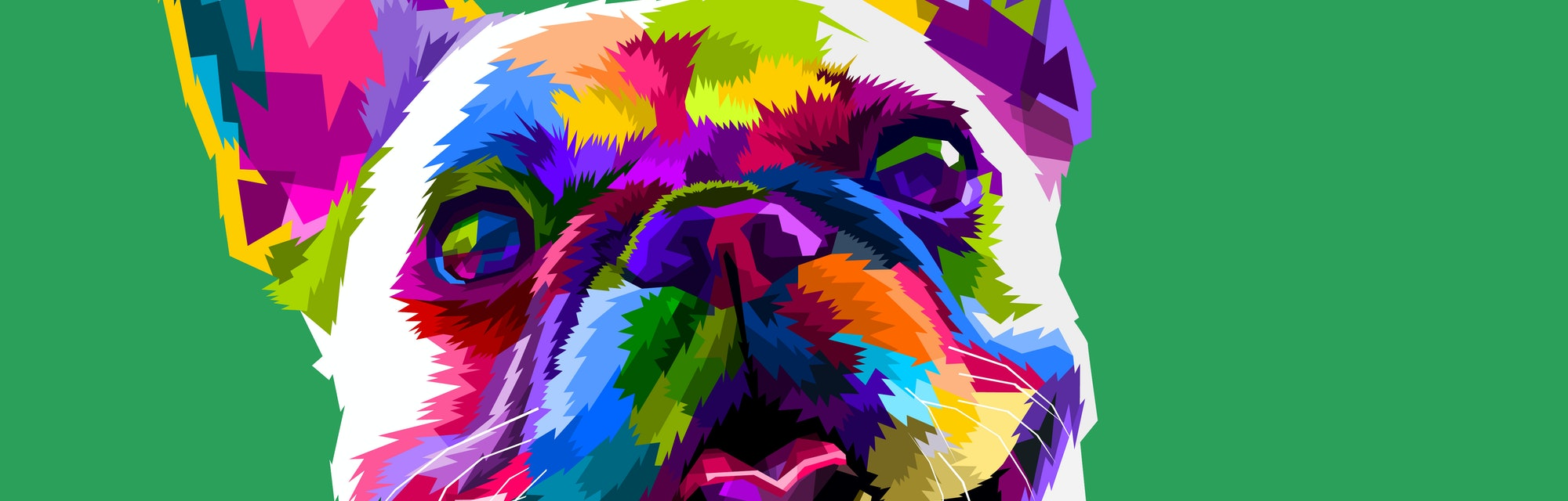 french bulldog in pop art colors isolated on green background