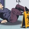 Stock illustration. Man falls on wet floor. Warning sign.